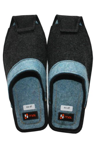 Home Slippers for Men, Wool, Anthracite and Blue Anthracite and Blue