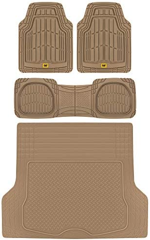 BDK Caterpillar CAMT-1003 (3-Piece) Deep Dish Rubber Car Floor Mats with Trunk Cargo Liner, Universal Trim to Fit Front & Rear Combo Set for Car Sedan SUV Van, Heavy Duty All Weather Odorless