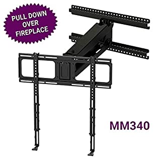 MantelMount MM340 Above Fireplace Pull Down TV Mount - with Patented auto-straightening, auto-stabilization, 2 Gas Pistons, Adjustable Motion Stops, Wire tabs & Safety Pull-Down Handles