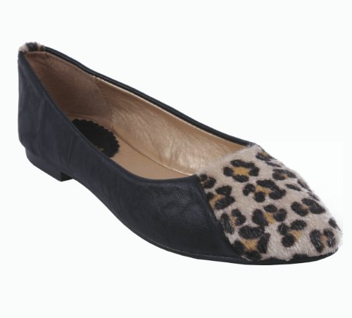 ANNA KUMO-1 Women's Slip on Flats Micro Suede Upper Leopard Print Toe Metal Spikes on The Heel Color: Black Size: ()