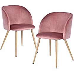 EGGREE Mid-Century Modern Velvet Accent Living Room Armchair Upholstered Leisure Club Chairs Set of 2 with Solid Steel Legs Velvet Cushion for Living Room Bedroom Reception Area,Rose Pink