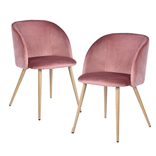 Mid-Century Velvet Accent Living Room Armchair Upholstered Leisure Club Chair Set of 2 with Solid Steel Legs Velvet Cushion for Living Room Bedroom Reception Area,Rose Pink