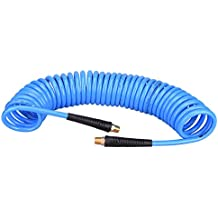 "WYNNsky 1/4""x 25ft Recoil Poly Air Hose, Air Compressor Hose With Swivel Ends And Bend Restrictor Fittings"