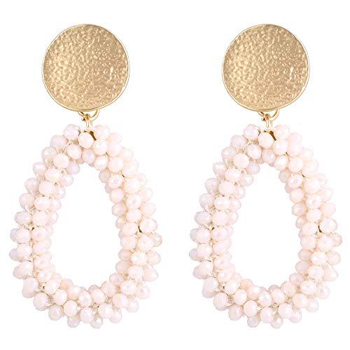 (Stylebar Teardrop Beaded Earrings for Summer Bohemian Cream Bead Boho Drop Dangle Earring Handmade Jewelry for Women Girls Daily Wedding Party)