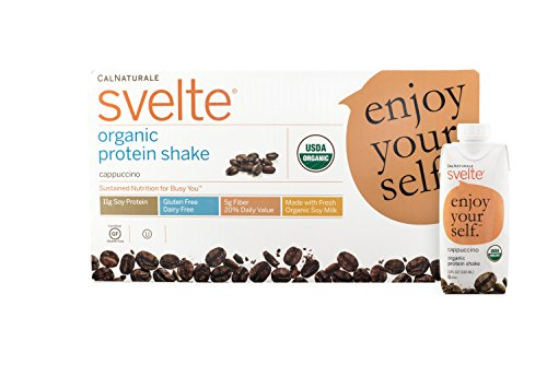 Svelte Organic Protein Shake, Cappuccino, 11 Ounce, 18 Count