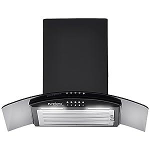 Eurodomo 60 cm 1050 m³/hr curved glass Kitchen Chimney (Hood Onyx PB BK 60, Baffle Filter, Black)