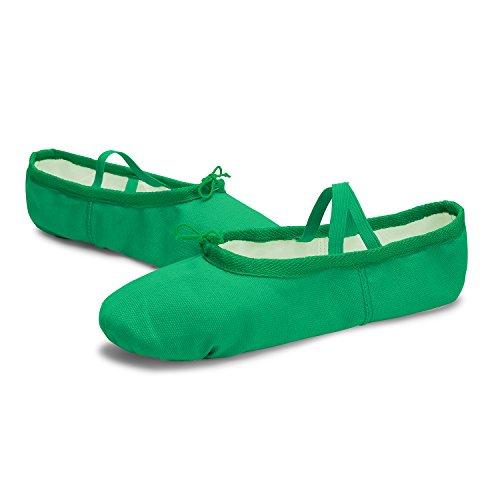 L-run Girls / Womens Canvas Ballet Dance Shoes / Balletto Shipper / Yoga Scarpa Verde