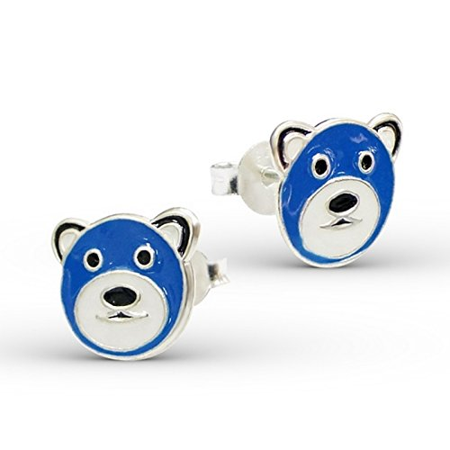 Price comparison product image Bear Ear Studs 925 Sterling Silver And Epoxy Color Children Child Kids Jewelry
