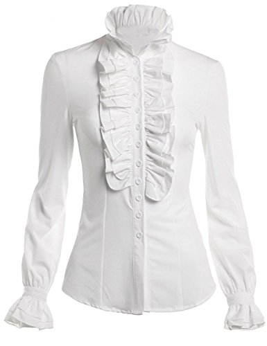 DEARCASE Women's Stand-Up Collar Lotus Ruffle Shirts Blouse White XL