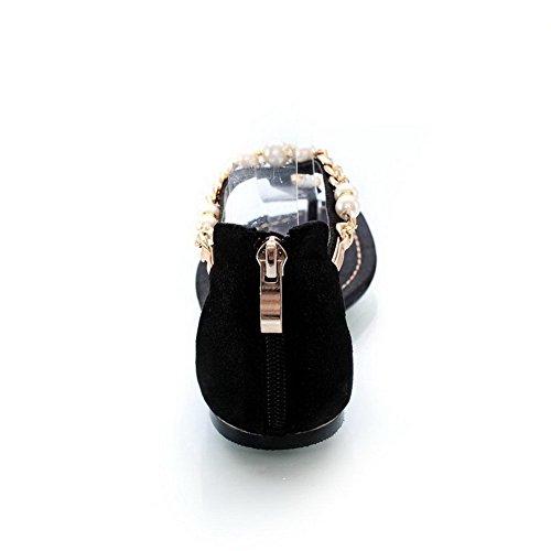 AllhqFashion Mujeres Cremallera Mini Tacón Cuero Sólido Puntera Dividida Sandalia Negro