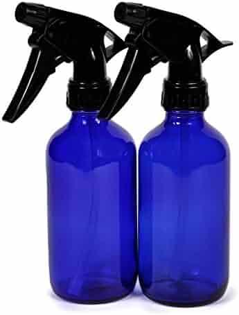 Vivaplex, 2, Large, 8 oz, Empty, Cobalt Blue Glass Spray Bottles with Black Trigger Sprayers