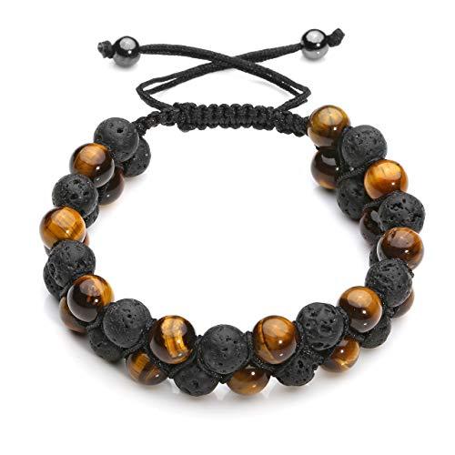 CrystalTears Mens Lava Rock Bracelet-Yellow Tiger Eye Bead Bracelet Men Natural Stone Double Layer Beads Yoga Essential Oil Braid Bracelets ()