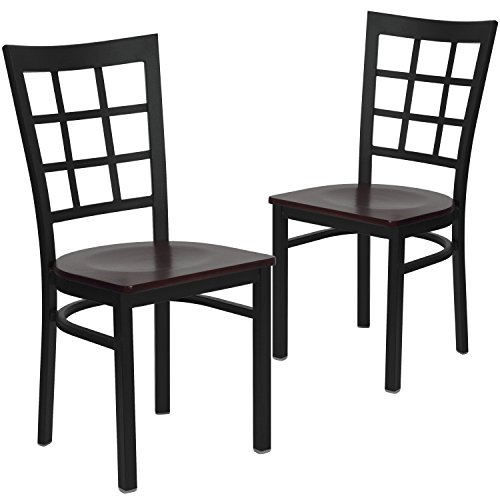 Flash Furniture 2 Pk. HERCULES Series Black Window Back Metal Restaurant Chair - Mahogany Wood Seat