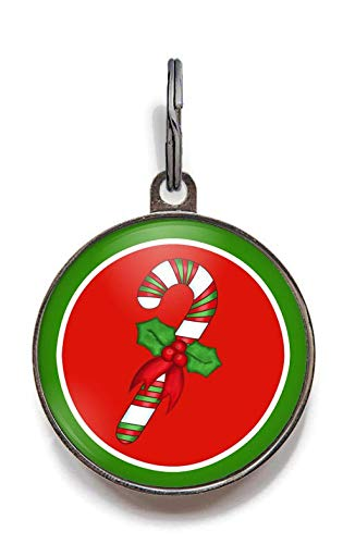 Wag-A-Tude Tags Candy Cane Christmas Pet ID Tag for Cats and Dogs (Large)