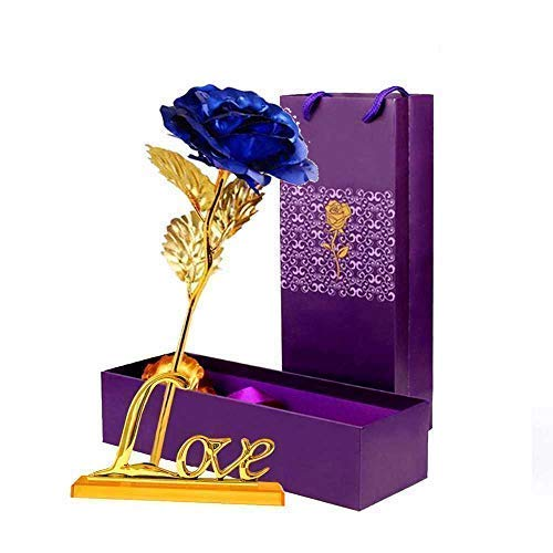 LOMIRO Girlfriend Gifts❤️24K Gold Foil Rose Flower with Love Base❤️Gifts for Her❤️Mom on Valentine's Day,Mother's Day,Christmas,Thanksgiving,Anniversary,Birthday,Special Days❤️ (Blue)
