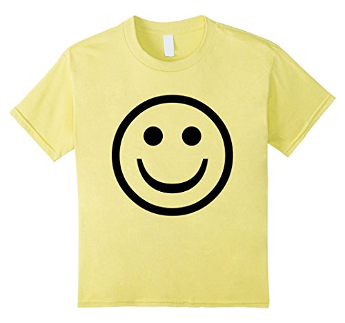 Faces Girls T-shirt (Kids Smiley Face Cute, Positive, Happy Smile Face Tshirt 12 Lemon)