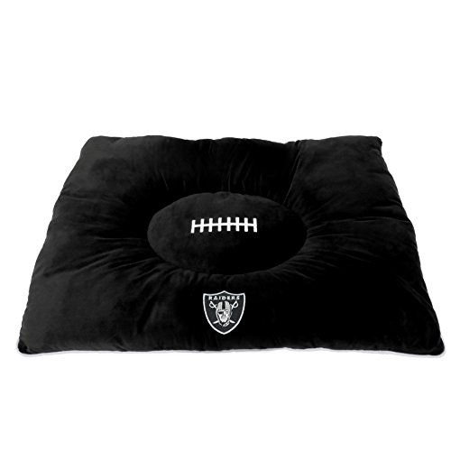Image of NFL PET Bed - Oakland Raiders Soft & Cozy Plush Pillow Bed. - Football Dog Bed. Cuddle, Warm Sports Mattress Bed for Cats & Dogs