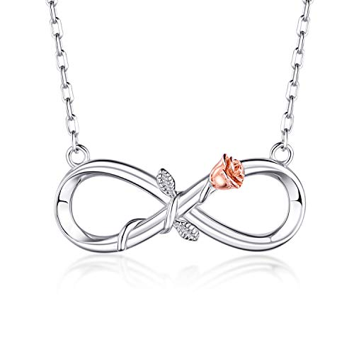 (BlingGem Silver Necklace Rose Infinity Necklace for Women 925 Sterling Silver White Gold Plated Flower Pendant Symbol Love Jewelry Gift for Mother's Day)