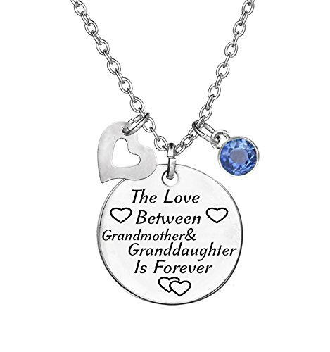 TISDA Birthstone Crystals Necklace,The Love between Grandmother and Granddaughter is Forever Necklace Family Jewelry Christmas Gift (December)