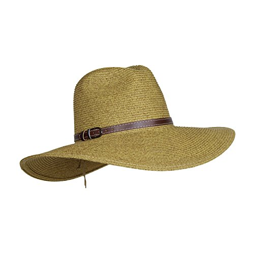 [Packable Straw Safari Hat w/ Buckle Hatband, Wide Brim UV Sun Protection, Adjustable (Light] (Straw Safari Hat)