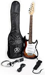 SX RST 1/2 3TS 1/2 Size Short Scale Sunburst Guitar Package with Amp, Carry Bag and Instructional Video