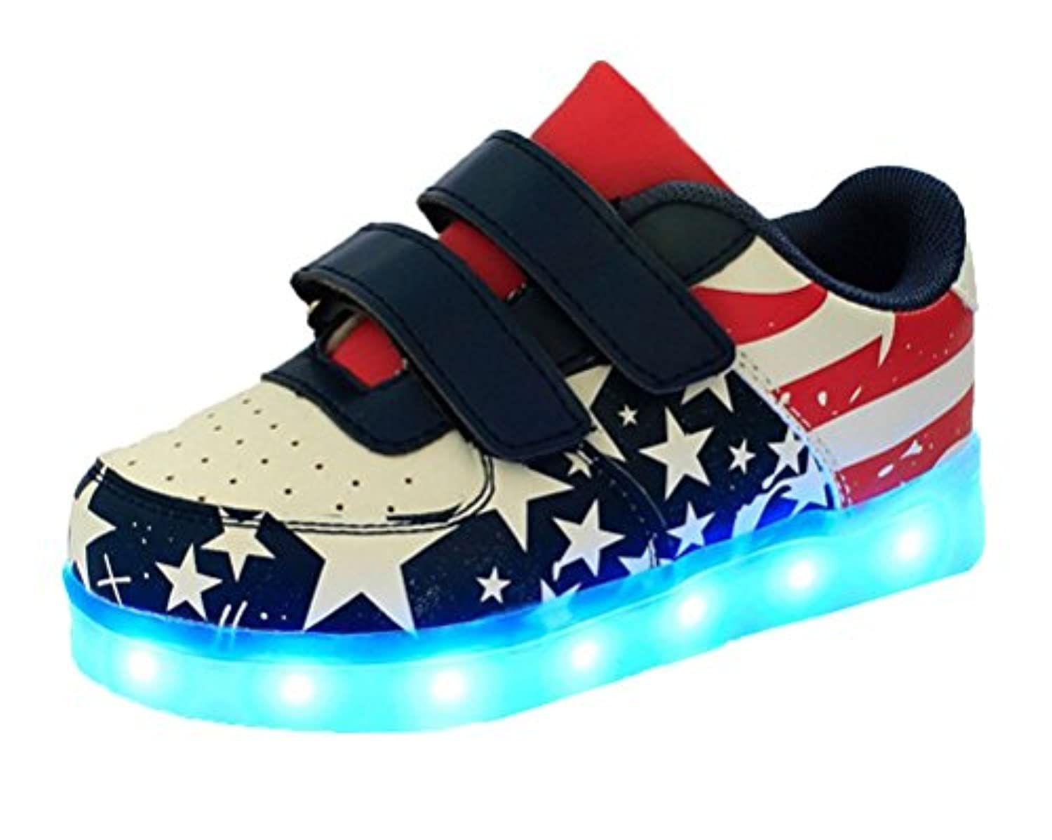 Ake Girls Boys LED Light Shoes USB Charging Luminous Sneakers Skidproof Flashing Sport Shoes -Blue