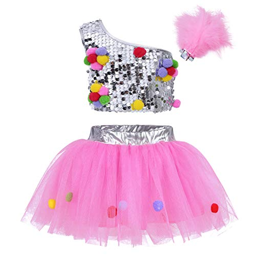 iiniim Kids Girls 3PCs One Shoulder Sequins Ballet Dance Dress Performance Outfit Crop Top with Mesh Tutu Skirt Hair Clip Silver&Pink 5-6 (One Sequin)