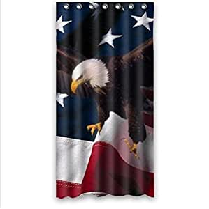 Best Seller The Flying Bald Eagle And USA Flag Custom 100% Polyester Waterproof Shower Curtain 36 x 72