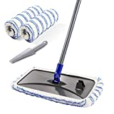 Large Surface Microfiber Flat Mop with 2 Pcs Mop Head and Cleaning Scraper 360 Degree Used Wet and Dry with Adjustable Handle for Hardwood Floors