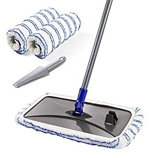Large Surface Microfiber Flat Mop with 3 Pcs Mop Head and Cleaning Scraper 360 Degree Used Wet and Dry with Adjustable Handle for Hardwood Floors