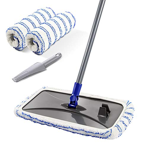 - Large Surface Microfiber Flat Mop with 2 Pcs Mop Head and Cleaning Scraper 360 Degree Used Wet and Dry with Adjustable Handle for Hardwood Floors