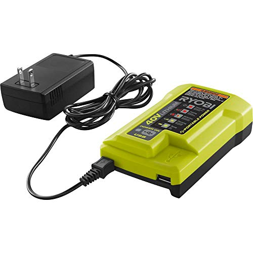Ryobi 40-Volt Lithium-Ion Charger Gen2 with Portable USB Charger 40v Li-Ion Model OP403A (Lawn Battery Mower Ryobi Charger)