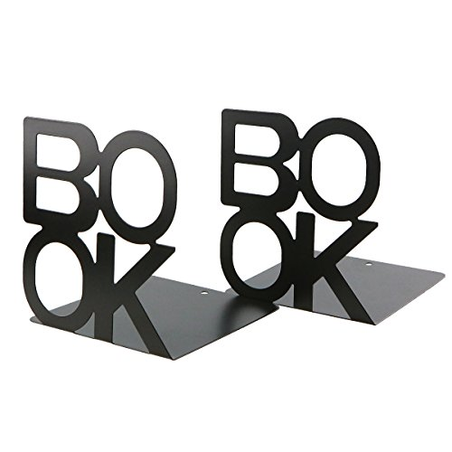 Simple Black BOOK Letter Pattern Metal Bookends Book Organizer for Desk Office Home Decoration Gift