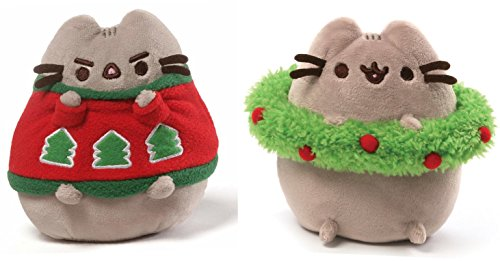 Pusheen Holiday Plush Set - Pusheen with Wreath and Pusheen with Sweater