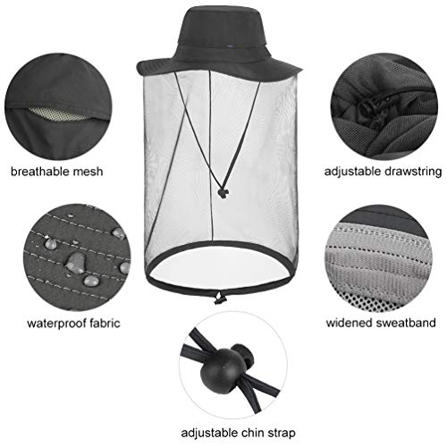 VBIGER Mosquito Head Net Jungle Face Protection Mask Fishing Hat with Net Mesh
