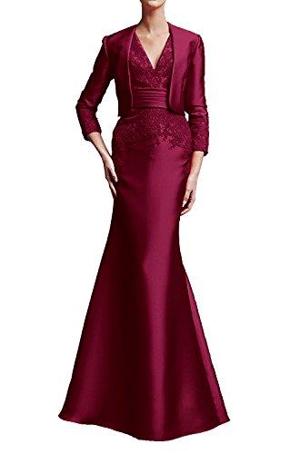 Brautmutterkleider Wassermelon Abendkleider Bolero Ballkleider Langarm La Weinrot Elegant mit Braut Marie qCgRHwI