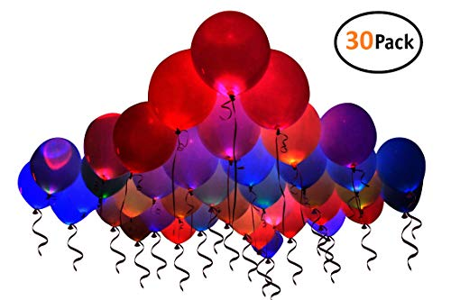 Xorastra 30 Pack Party LED Balloons, Luminous Assorted Colors Birthday Balloons, Light Up Helium Party Balloons, Balloon Party Decoration -