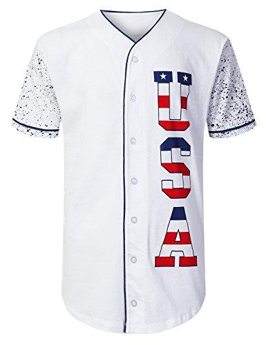 URBANCREWS Mens Hipster Hip Hop USA Flag Logo Baseball Jersey Shirts Navy, - Usa Bb Jersey