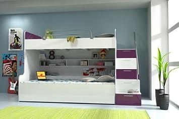 Hochbett Etagenbett Kinderzimmer weiß violett hochglanz: Amazon.de ...