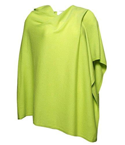 Anna Kristine Pure Cashmere Asymmetrical Draped Poncho – Chartreuse