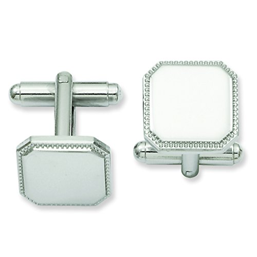 Shop4Silver Rhodium-Plated Square Beaded Cuff Links