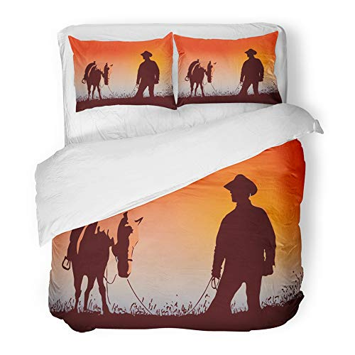 Emvency Decor Duvet Cover Set Twin Size Texas Cowboy with The Horse Night Ranch Ranger Rider Silhouette Sky Adventure 3 Piece Brushed Microfiber Fabric Print Bedding Set Cover
