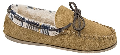 Ladies Cotswold Tan Brown Leather Suede Warm Lined Moccasin Slippers