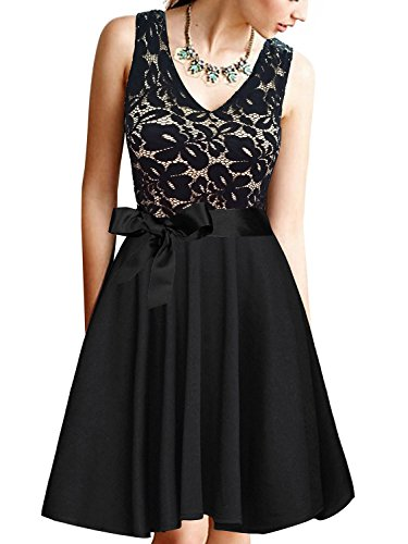 Silk Pleated Dress (PZZ BEACH Women's V-Neck Sleeveless A-Line Pleated Floral Lace Stitching Evening Cocktail Party Swing Dress With Belt,Black)