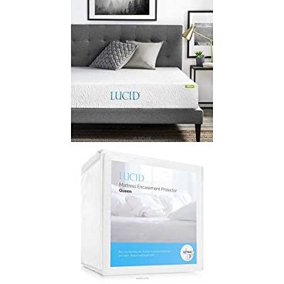 LUCID 10 Inch Gel Memory Foam Mattress - Dual-Layered - CertiPUR-US Certified
