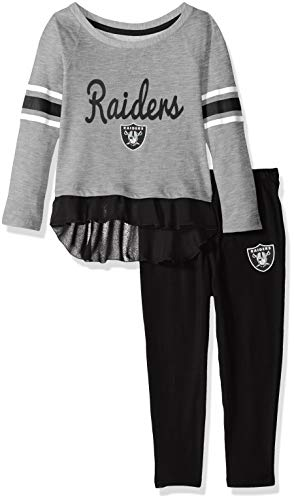 Outerstuff NFL Oakland Raiders Toddler Mini Formation Long Sleeve Top & Legging Set Heather Grey, 4T