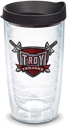Tervis 1085103 Troy Trojans Sword Tumbler with Emblem and Black Lid 16oz, Clear