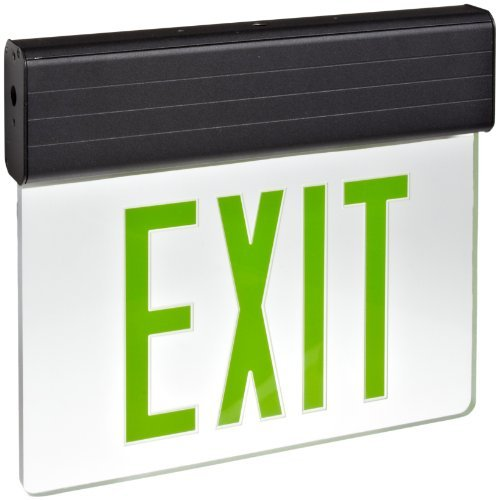 Morris Products 73317 Surface Mount Edge Lit LED Exit Sign,Single Side Legend ,Green on Clear Panel Color, Black Housing - Edge Lit Led Sign