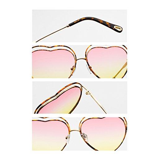 Gradient eyewear metal Men de Colored Templos Amarillo de Heart Sunglasses Polvo marco women Leopardo Lens Huicai qzwTdE1q