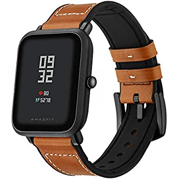 Kartice Compatible Amazfit Bip Band,Huami Amazfit Bip Bands Hybrid Leather Strap Replacement Buckle Strap Wrist Band for Amazfit Bip Smartwatch. ...